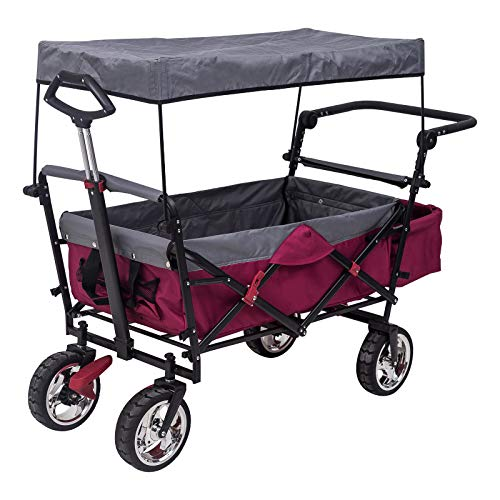 WOLTU Bollerwagen faltbar Handwagen Strandwagen mit Dach, 4 Rollen mit Bremse, für den Garten Camping Kinder, 80 kg belastbar TW003fsg