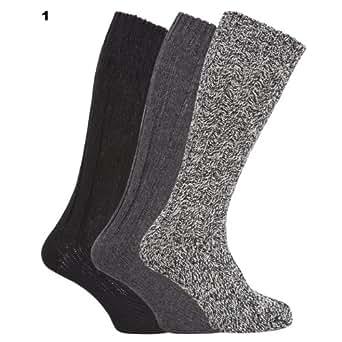 Chaussettes hautes en mélange de laine (lot de 3 paires) - Homme (Homme EUR 39-45) (Couleurs assorties)