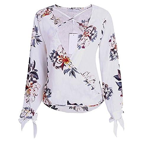 QIYUN.Z Blouson À Imprimé Floral À Manches Longues Femme Criss Cross Deep V-Neck Tops Chemises
