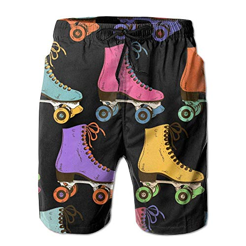 Azfaiop Roller Skate Shoes Pattern Men's Beach Shorts Swim Trunks Dry Fit Board Short with Lining XXL -