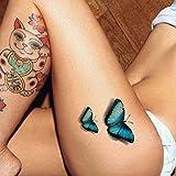 TAFLY Temporäre Tattoo Aufkleber Abnehmbare Sexy Körper Kunst Blau Blume Schmetterling 5 Blätter