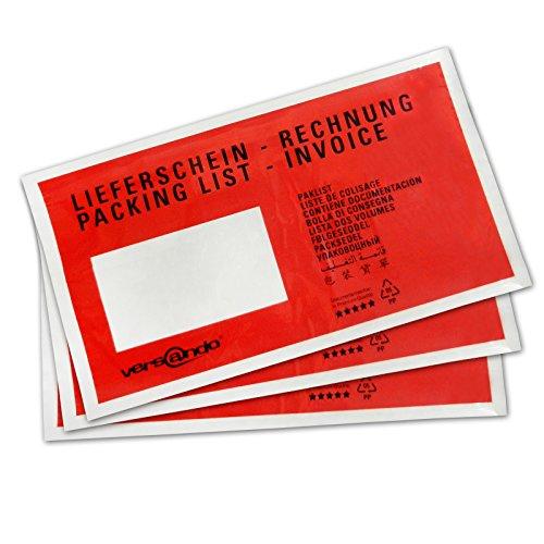 Colompac 522182 Dokumententaschen DL Lieferschein-Rechnung 230x120mm Inh.1000, rot/schwarz
