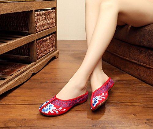 Insun Damen Stickerei Opera Slipper Flache Schuhe Rot
