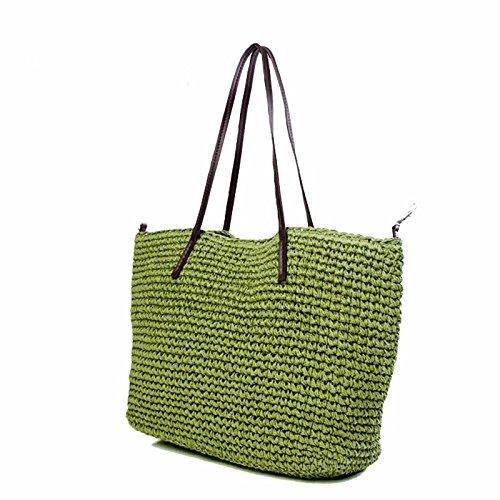 GUMO-Spiaggia sacchetti, sacchi di paglia, singole borse a tracolla, borse di paglia, sacchetti di vacanza,verde Green