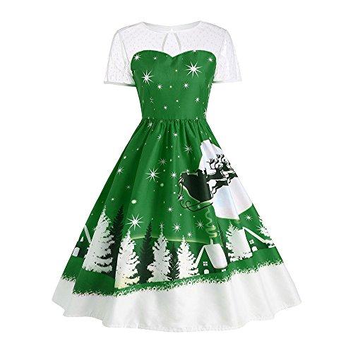 Weihnachtskleid,Transwen Damen Vintage O-Neck Printed Kurzarm A-Linie Swing Kleid Weihnachtsdeko Cocktailkleid Weihnachtsmann Festlich Kleid (XL, Grün)