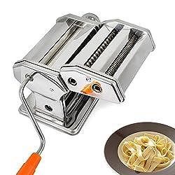 Todeco - Nudelmaschine, Pastamaschine - Schnittstärke: 6 einstellbare Stärke-Einstellungen von 0,5 bis 3 mm - Material: Edelstahl - Spaghetti, Tagliatelle, Lasagne
