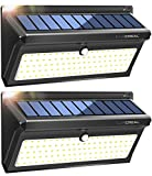 Solar Lights Motion Sensor,100LED Wireless Solar Security Lights Outdoor, Waterproof Solar Powered Wall Light Outside with Wide Angle (2 Pack)-LUSCREAL