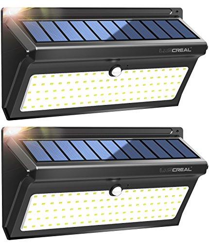 Focos Led Exterior Solares,100LED Luces Solares Led Sensor Movimiento 2400mAh de Súper Brillantes con Gran Ángulo 120°,Impermeable Lámparas Solares(2 Paquetes)-LUSCREAL