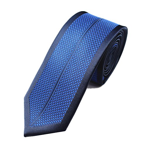Z-P Mens Fashion Blue Pattern Luxury Microfiber Necktie Knit Polyester Skinny Tie