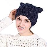 HaoLiao Cap, Imitation Cat Ears hat Damen Twist Beret, Herbst Winter im Freien, Windproof und Cold-Resistant Knit Caps,Blue