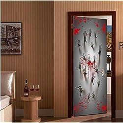 WYCMT Bloody Ghost Handprint Creativo 3D Pegatinas de Puerta Personalidad Puerta de Madera Decoración del Hogar Pegatinas de Pared Puertas