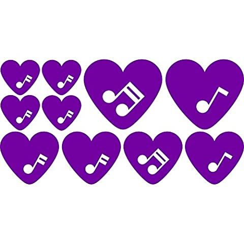 Lovely fancy love music set of romantic musical notes hearts (30 cm x 60 cm) Colour Purpple Bathroom, Childs Bedroom, Children Room Stickers, Car vinyl, Windows and Wall Sticker, Wall Windows Art, Decals, Ornament Vinyl Sticker
