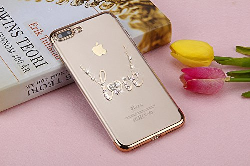 Paillette Coque pour iPhone 7/iPhone 8,iPhone 8 Coque Silicone Étui Ultra Mince Housse, iPhone 7 Souple Coque Etui en Silicone, iPhone 7 Silicone Case Soft TPU Cover, Ukayfe Etui de Protection Cas en  LOVE