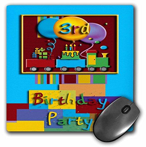 3drose LLC 20,3x 20,3x 0,6cm Maus Pad, 3. Choo Choo Zug Geburtstag Party (MP _ 20886_ 1)