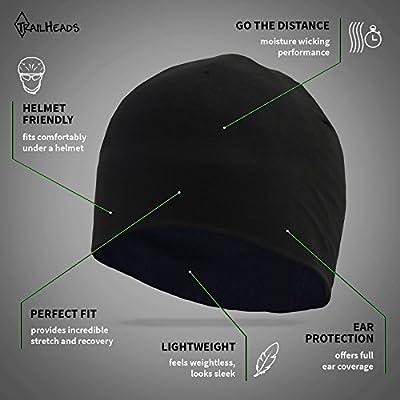 TrailHeads Men's Beanie | Performance Running Hat | Skull Cap & Helmet Liner for Men | Adrenaline Series - black from TrailHeads