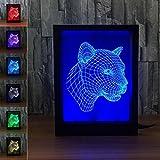 WAOBE 3D Leopard Kopfrahmen Lampe Bunte Fernbedienung Touch Led Visuelle Lampe Geschenk Kleine Lampe