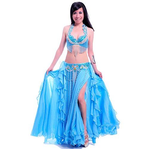 Royal smeela da donna, per la danza del ventre abbigliamento strass reggiseno gonna/cintura/3pcs, light blue