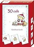 Selective - Scatola con 30 biglietti di Natale, 4 diversi orsacchiotti vestiti da Babbo Natale per ogni confezione [scritte in lingua straniera]