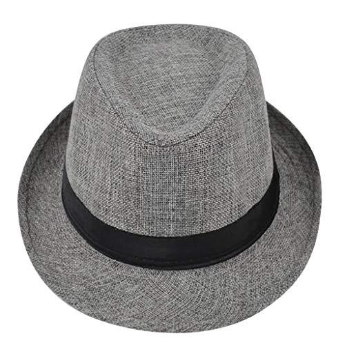 Yolmook Unisex Trilby Gangster Cap Strand Sonne Strohhut Band Sonnenhut Gr. Einheitsgröße, grau