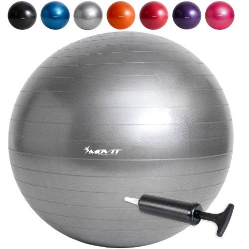 Ballon de Gymnastique 75 cm avec pompe gris argent