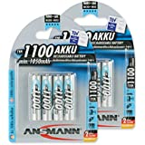 ANSMANN Micro AAA Akku Testsieger (Vergleich.org 06/2016) Typ 1100mAh NiMH hochkapazitiv Profi Digital Kamera-Akkubatterie (8er Pack)
