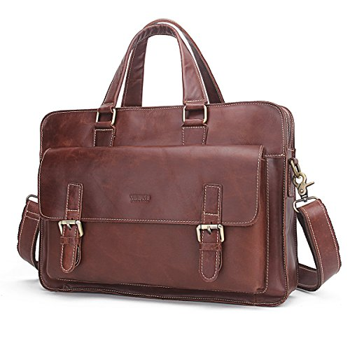 - 51nezB20SHL - Contacts Genuine Leather Mens Briefcase Messenger 14″ Laptop Bag Brown