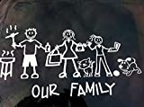 """Exterior - Text Only - Official """"OUR FAMILY"""" My Stick Figure Family Vinyl Car Window Sticker """"T1"""""""