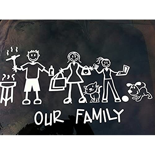 Exterior text only official our family my stick figure family vinyl car window sticker t1