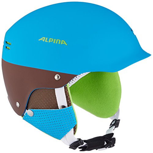 ALPINA Kinder Skihelm Spam Cap, Blau (Blue/Brown Matt), 51-54 cm, 9064183