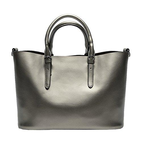 Valin Q0604 deman Leder Handtaschen Top Handle Satchel Tote Taschen Schultertaschen ,34x23.5x16.5cm (B x H x T) Grau