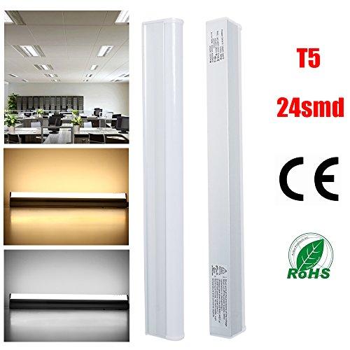 THG T5 5W LED Tube Röhre Light Replacement 40W Leuchtstofflampe, Kaltweiß Leuchte Lampe, 30cm, 1ft, 5500K Bar Bulb, Nature White Fluorescent Tube, Energie sparen, 230V, 400lm (5 Leuchtstofflampen Ballast)