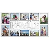 Bilderrahmen Collage Weiß - Familiy - Fotocollage für 10 Bilder in 2 Größen - Kunststoff Fotorahmen Bildergalerie mit Glas - 71 x 36 x 2cm