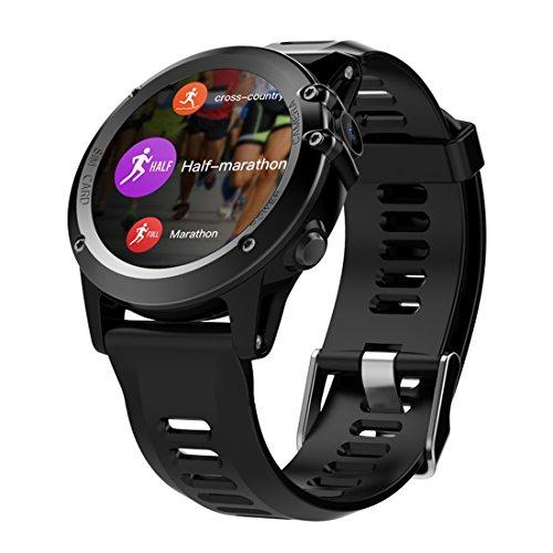 """PINCHU H1 Smart Watch Android 4.4 Wasserdicht 1.39"""" MTK6572 BT 4.0 3G Wifi GPS SIM f¨¹r iPhone Smartwatch M?nner tragbare Ger?te, Schwarz"""