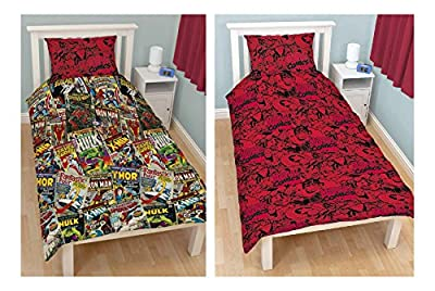 OFFICIAL Marvel Comics Hero 'Avengers' Reversible Rotary Single Bed Duvet Quilt Cover Set Children Reversible Single Bed Set Duvet Pillowcase Set (MCC1)