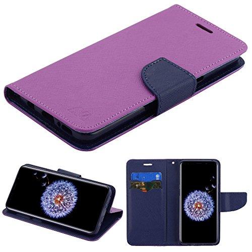 Fall + Stylus Pu Leder Wallet für Samsung Galaxy S9g9596MYBAT MyJacket-Violett Muster/Dunkelblau Liner -