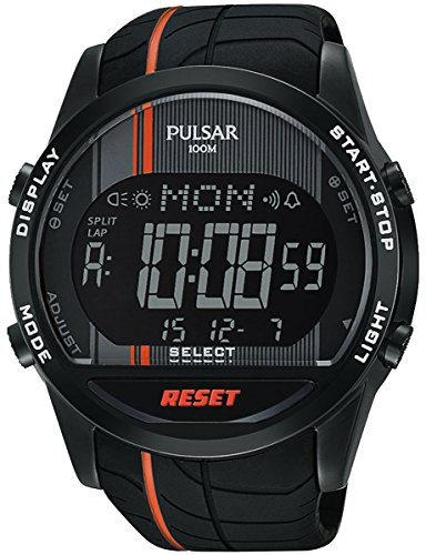 PULSAR Homme Digital Quartz Montre avec Bracelet en Silicone PV4009X1