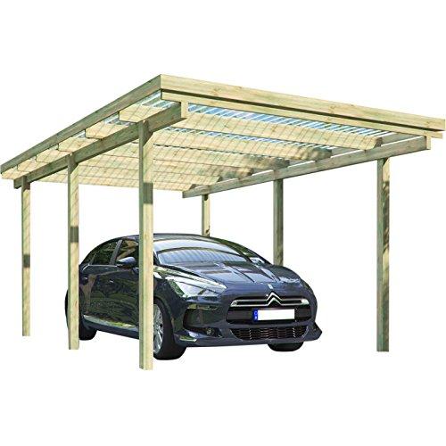 Carport ELBE 1 Einzelcarport 3,04 x 5,10 m Flachdach Garage Unterstand Holz Carport freistehend