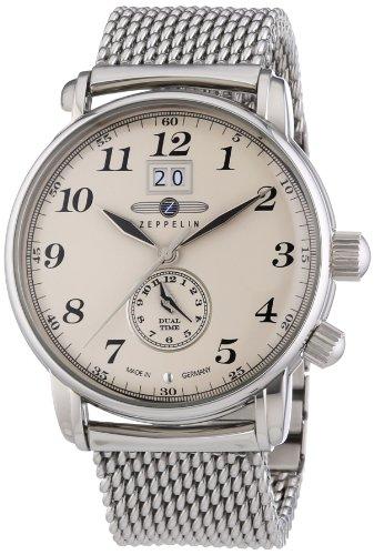 Zeppelin LZ127 Graf Zeppelin 7644M5 - Reloj analógico de cuarzo para hombre, correa de acero inoxidable color plateado