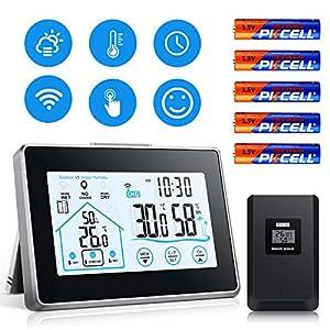 Wetterstation Funk mit Außensensor, Digital Thermometer Hygrometer Innen und Außen Raumthermometer Hydrometer Feuchtigkeit mit Wettervorhersage, Uhrzeitanzeige und Nachtlicht-Schwarz