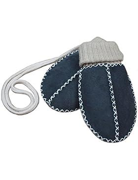 Baby-Lammfell-Handschuhe / - Fäustel mit Strickbündchen, blau-anthrazit