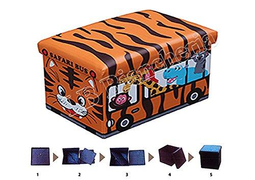 Puff contenitore poggiapiedi - Porta giocattoli per cameretta Bimbo Bimba - Sgabello con coperchio cm 48x33x33 - Autobus tigrotto