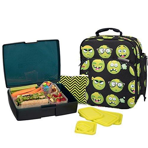 Bentology Tasche und das Set beinhaltet eine Kühltasche mit Griff, Bento Box, 5 Behälter und EIS Emoji