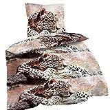 4-Teilige Wende Bettwäsche Set 2X Bettbezug 135x200 2X Kissenbezug 80x80 Mikrofaser Leopard Afrika