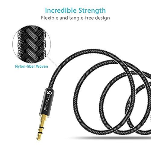 Syncwire Audio Verlängerungskabel Kopfhörer Verlängerungskabel – 3.5mm Aux Verlängerungskabel für Kopfhörer, Apple iPod iPhone iPad, Smartphones, MP3 Player – 1m Schwarz - 5