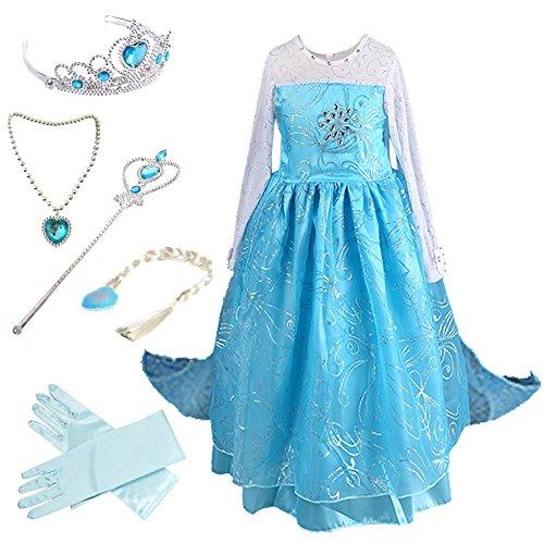 Anbelarui Mädchen Prinzessin Kleid Kinder karneval Cosplay kostüm Set aus Diadem,Handschuhe,Zauberstab,Perücke,Halskette (130 ( Körpergröße 130cm), #02 (Prinzessin Kind Handschuhe)