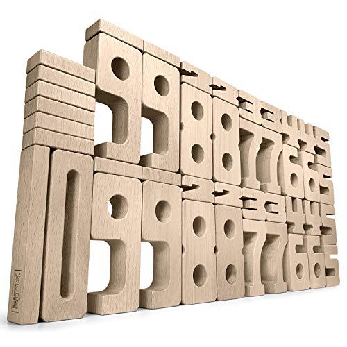SumBlox Montessori Spielzeug Basis Set - 43 große Holz Bausteine aus massiver Buche in Form von Zahlen - Beim Spielen Mathematik, Zahlen, 1x1 (Einmaleins) und Rechnen Lernen, Pädagogisches Material -