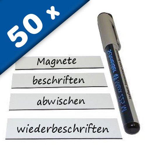 50+ Magnetschilder Magnetstreifen Magnet-Etiketten beschreibbar/abwischbar in weiß - als Namensschilder, Lageretiketten, für Lager, Werkstatt, Kühlschrank, Whiteboard - Größe und Stückzahl wählbar, Größe / Abmessung:2 x 8 cm, Stückzahl:50 Stück