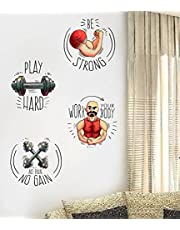 Rawpockets Gym Quotes Combo' Wall Sticker (PVC Vinyl, 55 cm x 60cm, Set of 4, Multicolour)