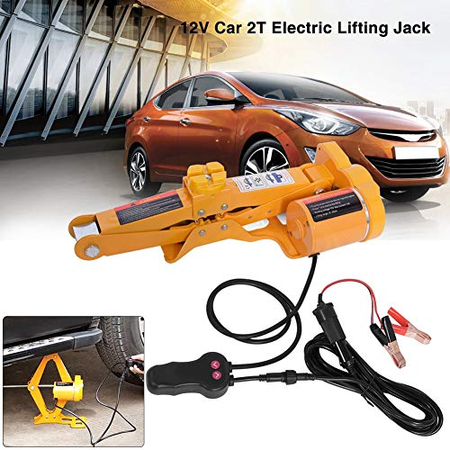 SKIESOAR Gato eléctrico para Auto, 2 toneladas, 12 V, Gato Tijera para Coche, Gato Elevador con Funda, Altura de elevación 12-35 cm
