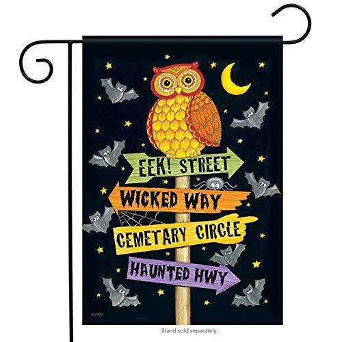 ASKYE Eek Street Owl Glitter Halloween Garden Flag 2 Sided Bat Haunted Moon for Party Outdoor Home Decor(Size: 12.5inch W X 18 inch H) (Kit House Bat)